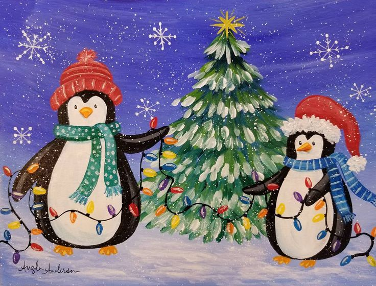 Penguin Christmas Acrylic Painting Tutorial by Angela Anderson FREE on YouTube #Christmas #penguin #acrylicpainting