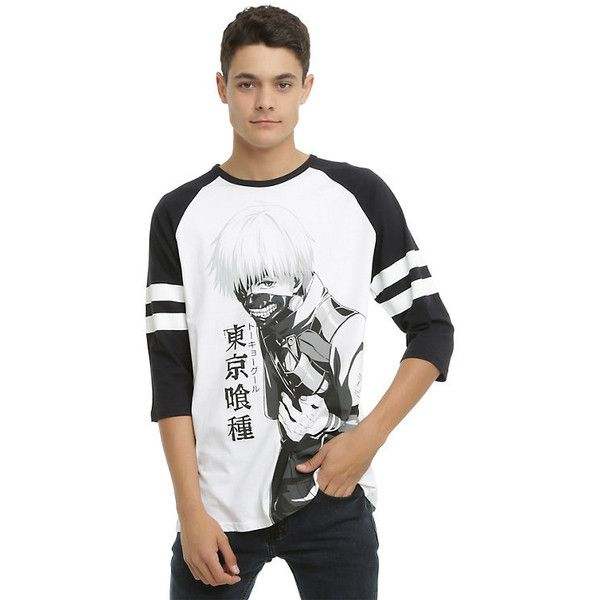 Tokyo Ghoul Ken Kaneki Raglan Hot Topic ($20) ❤ liked on Polyvore featuring tops, raglan shirts, white cotton shirt, white cotton tops, shirt tops and sleeve shirt