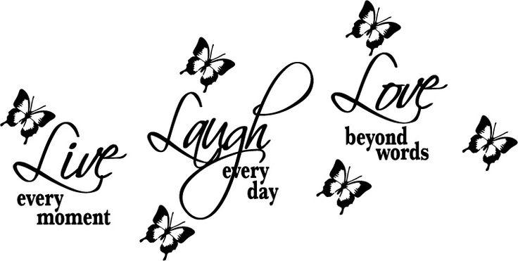Väggdekor Live... Laugh... Love Strl 270x135mm  ( valfri färg )