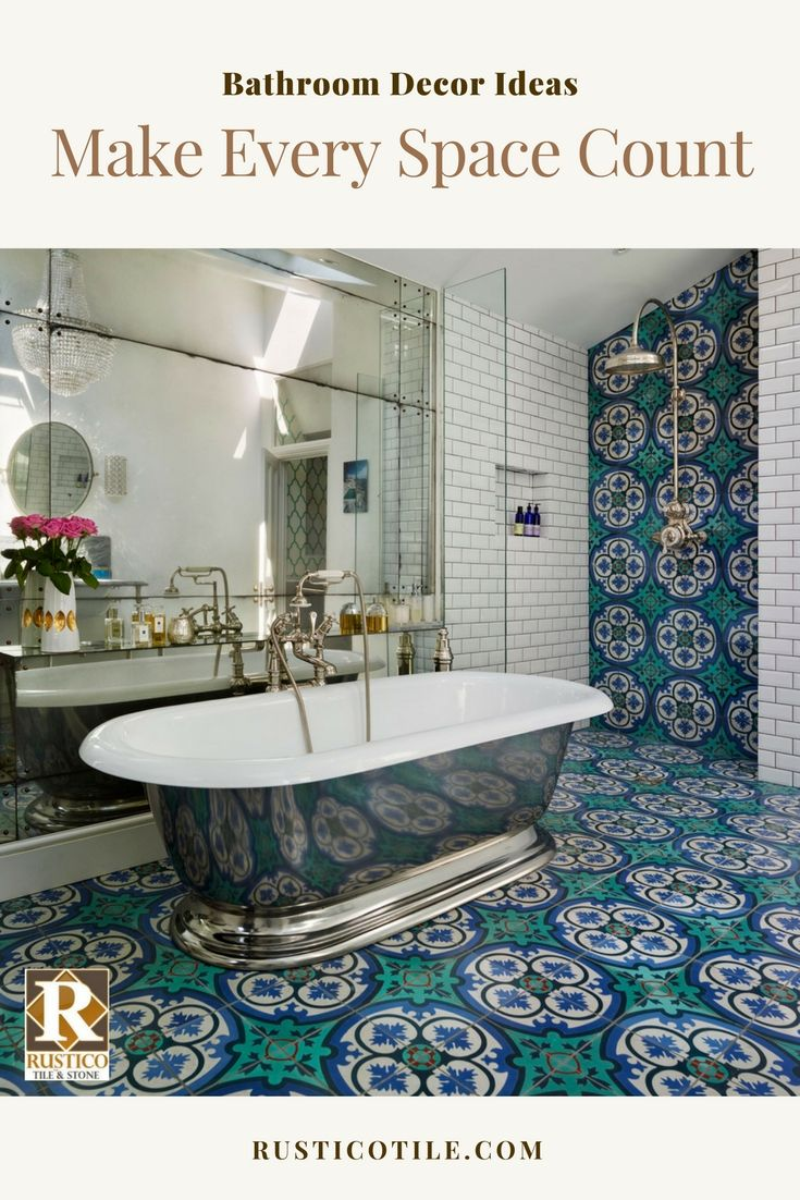Plan your dream bathroom through use of decorative cement tile and a mix of metallic fixtures and bathtub. Enhance it all with large wall mirrors to for an overall beautiful bathroom decor. See more looks like this at RusticoTile.com/Cement-Tile #bathroom