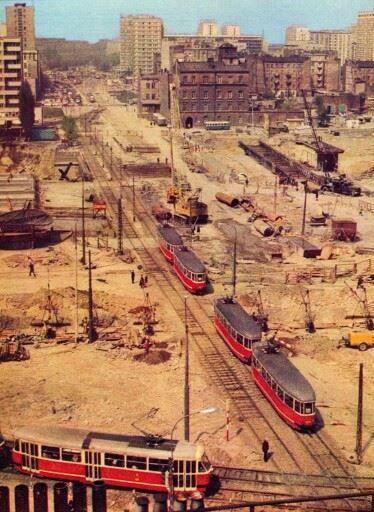 Warszawa 1974 r. Ul. Marchlewskiego (Jana Pawła II ) i plac budowy Dworca Centralnego omni-bus .eu