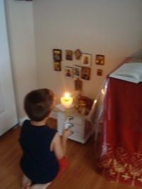 Adorable children's altar for their bedrooms. Love it.
