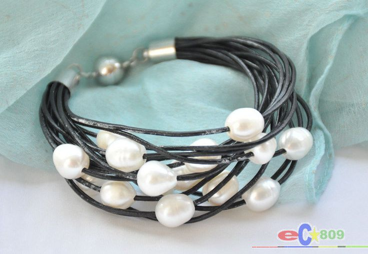 """Selling Picture 15 row 8"""" 13mm white rice freshwater pearl black leather bracelet"""