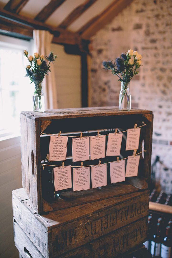 wood crate seating chart display ideas for barn weddings