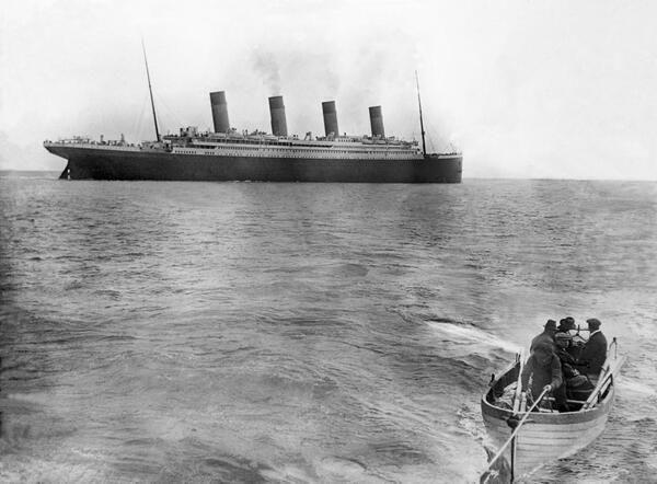 A última foto do Titanic antes de naufragar, em 1912.