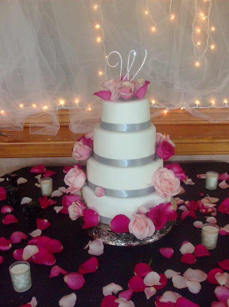 Pink Wedding Ideas. Pink and silver wedding cake
