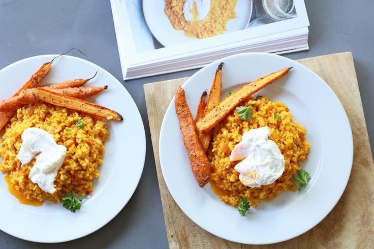 Risotto van bospeen uit het kookboek van Niven Kunz - Groente!, Groenten kookboeken, Gezonde kookboeken, Beaufood kookboek, Kookboek met vegetarische recepten, Vegetarische risotto, Risotto maken wortelsap, Risotto maken zonder bouillon