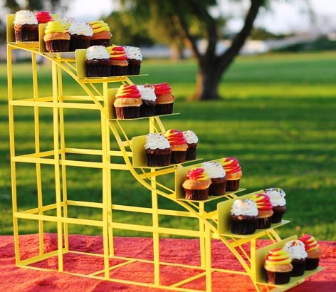 Cup Cake Stand in Shape of Roller Coaster! Could be used for VBS!