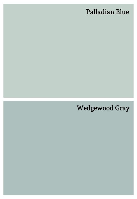 soft blue paint colors - Palladian Blue & Wedgewood Gray by Benjamin Moore