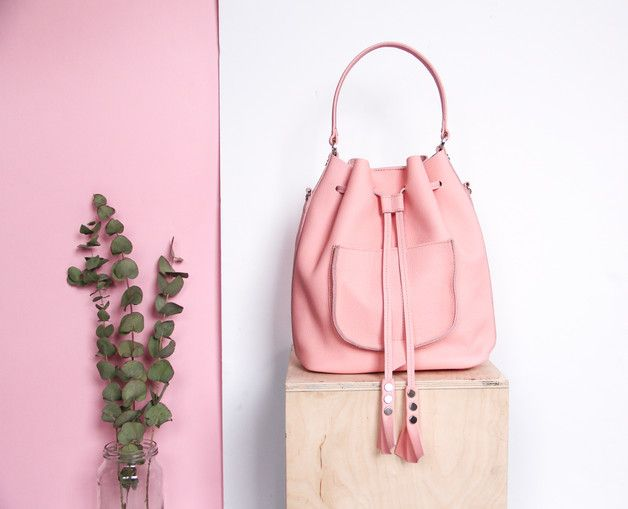 Skórzany worek | plecak | torba różowa - KULIKstyle - Torebki skórzane