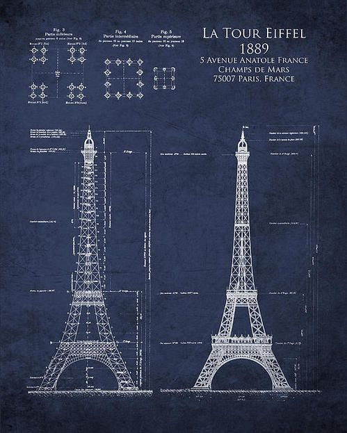 17 best architectural blueprints images on pinterest eiffel tower architectural blueprint art print by sara h malvernweather
