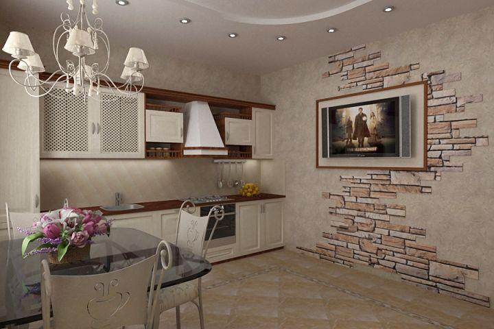 Стены кухни отделаны камнем