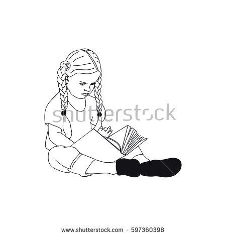 child girl reading a book in an awesome way