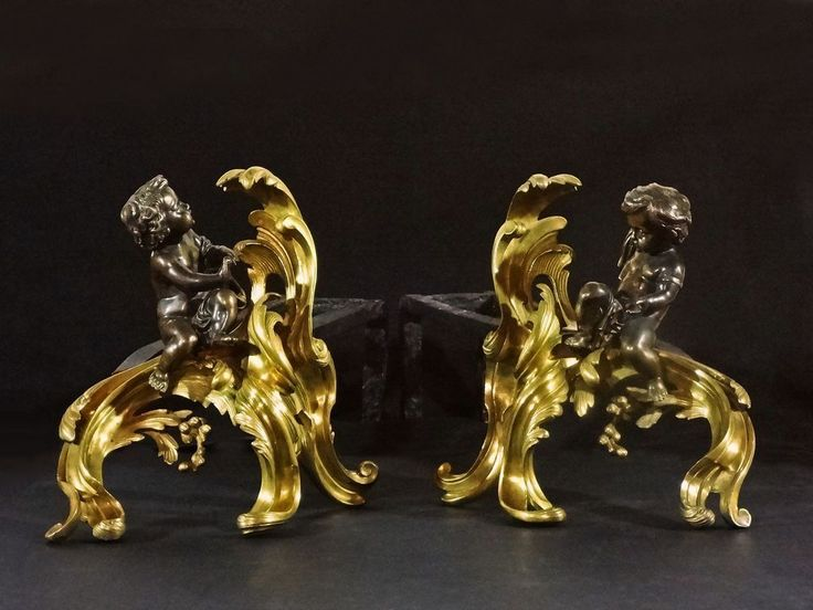 Pair French Chased Bronze Chenets Gilt Patinated Putti Fireplace Andirons Louis XV Style - c. 1850, France