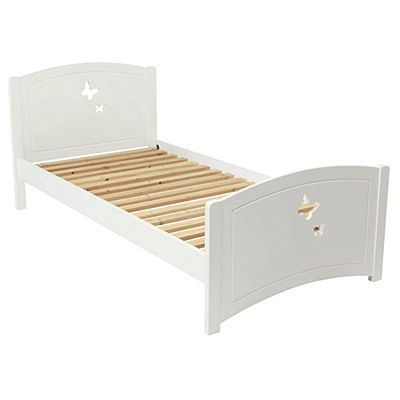 Butterfly Single Wooden Bed Frame White