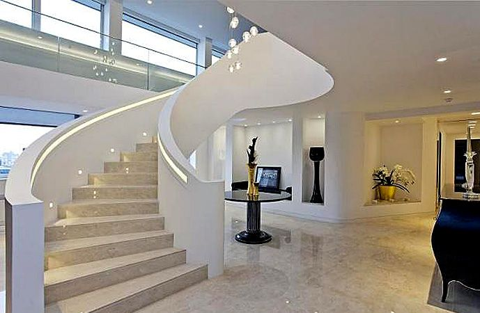 modern glass stainless staircases | ... > HELICAL STAIRCASES > Palace Street - Metal Contemporary Staircase