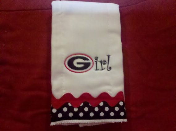 Georgia Girl Embroidered Football Burp Cloth and by myellabellas