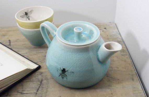 Porcelain Blue Bee Teapot