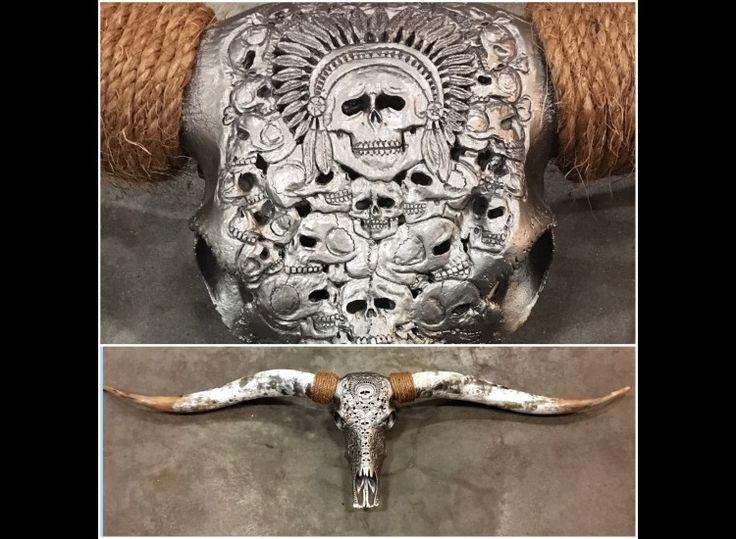 Longhorn schedel gegraveerd Large 140-200cm