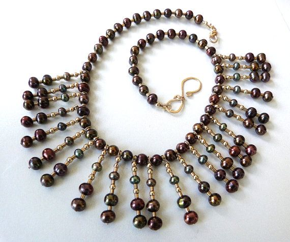 Peacock Pearl Cleopatra Collar Necklace by TransfigurationsJlry, $235.00