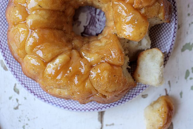 This indulgent pull-apart bread is the perfect savory-sweet combination.