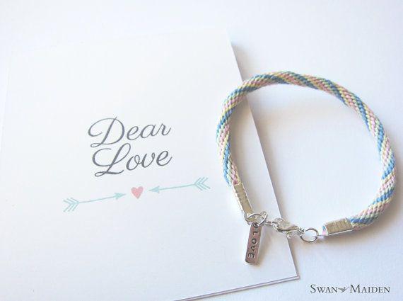 Friendship Bracelet - Love Charm - Pastel Rainbow Pink Blue Yellow Green Handmade Friendship Bracelet