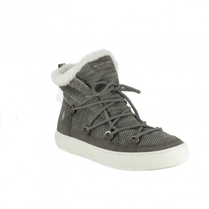 zapatillas lona SKECHERS botas grises con cordones