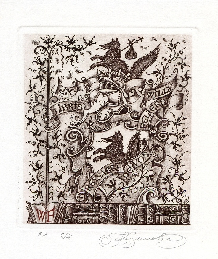 """Reynaert de Vos"" Fox, Folklore Ex libris Etching by Nina Kazimova, Russia"