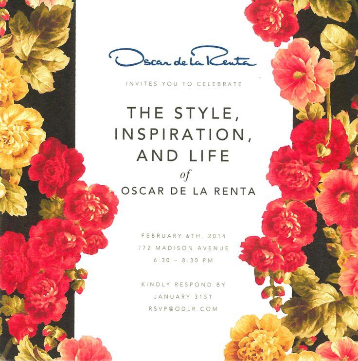 214 best images about fashion show invitation card on for Oscar de la renta wallpaper