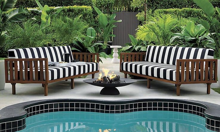Tropez Sofa Black/White Stripe Tropez Sofa Natural Ember Fire Pit Tropez Sofa Cover  outdoor sunny days, party nights. link in bio to save BIG on #outdoor this weekend!