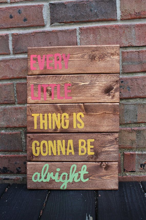 Three Little Birds: This handpainted wood pallet ($30) gives Bob Marley's Rasta lyrics a rustic vibe.