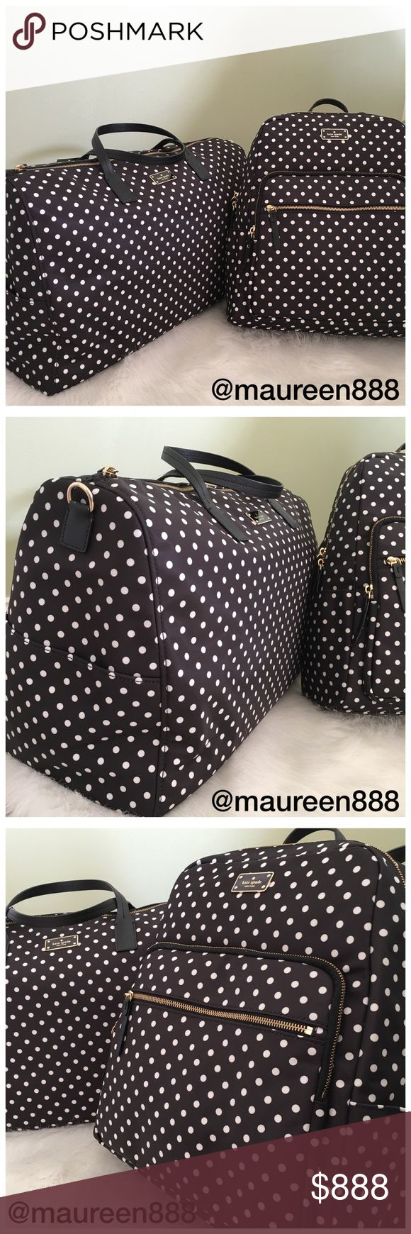 Kate Spade Diamondot Weekender + Backpack Bundle Kate Spade Polkadot Weekender Duffle Bag + Backpack Bundle. Perfect for the mom on the go, grab the traditional backpack for your toddler's things and a change of clothes and freshening up necessities to stash and go for those longer trips or those days spent away from home. Choose nylon, as any mother would. Was packing up for a day with the grandparents and all I could think was how badly I needed a large duffle and a backpack. Found these…