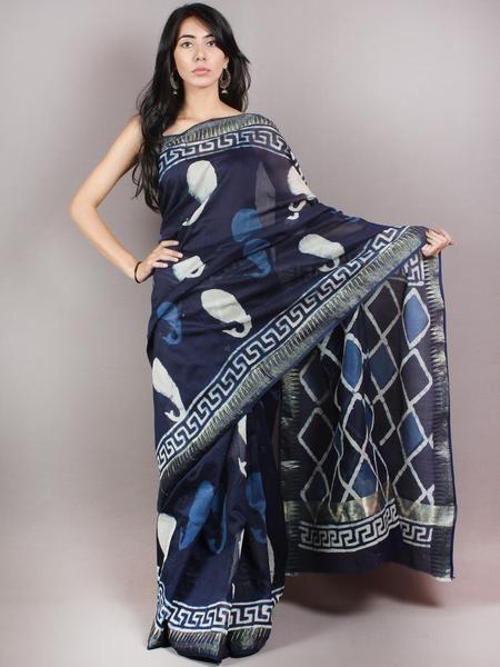 Indigo White Hand Block Printed in Natural Colors Chanderi Saree With Geecha Zari Border - S03170692