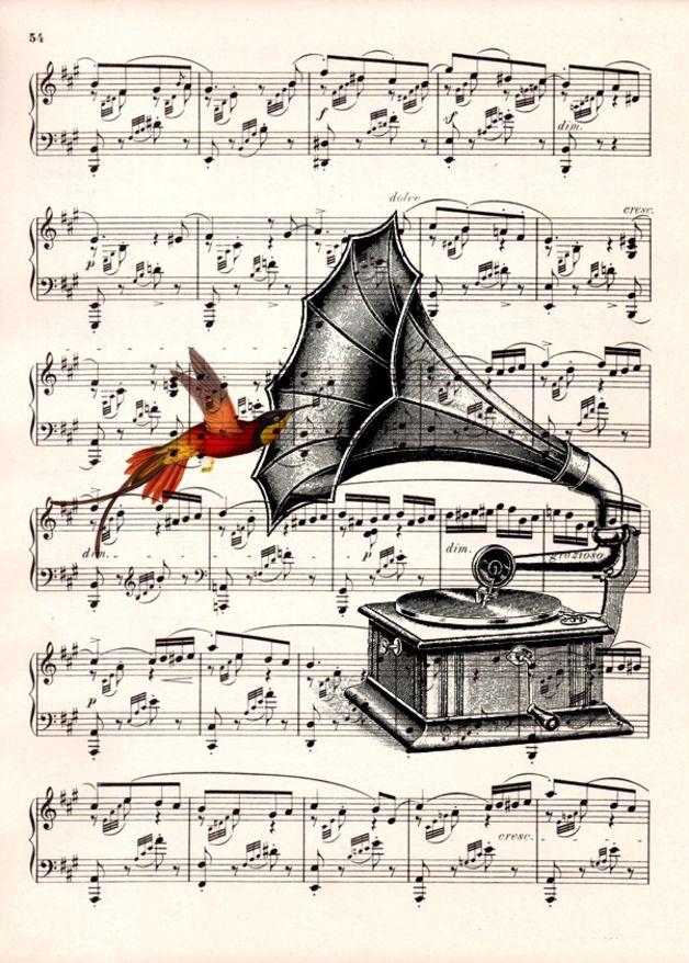 Grammophon Mit Noten Hinter Glas Ein Schönes Bild Lieder Und Noten