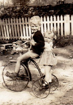 Adorable Little Boy Girl on Tricycle C1930s