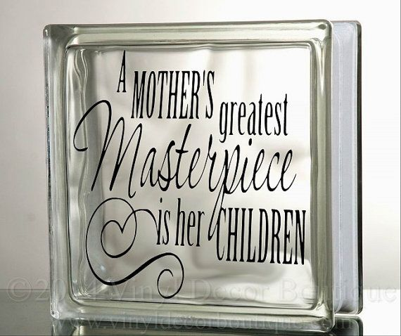 Mother children glass block decal tile mirrors diy decal for glass blocks mothers children masterpiece
