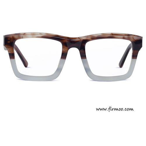 Retro square two-tone textured brown & gray men's eyeglasses frames