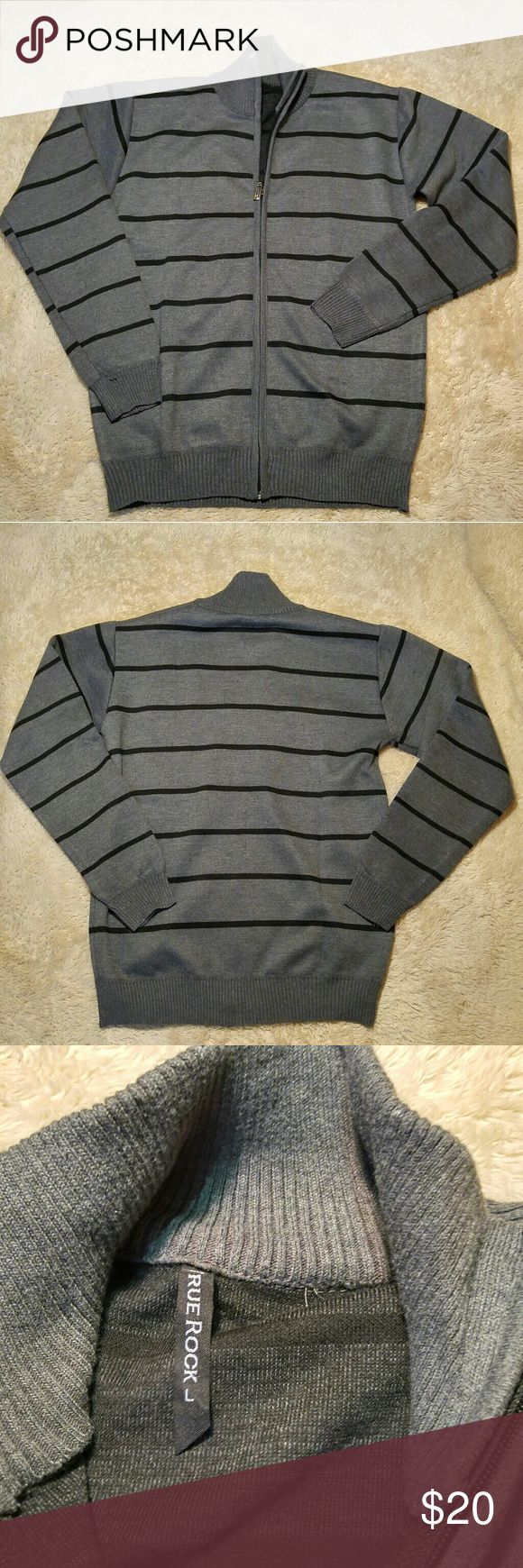 Men's Long Sleeve Striped Zip Up Sweater Long sleeve full zip up sweater, men's size large. Never worn! Cotton blend. True Rock Sweaters Zip Up