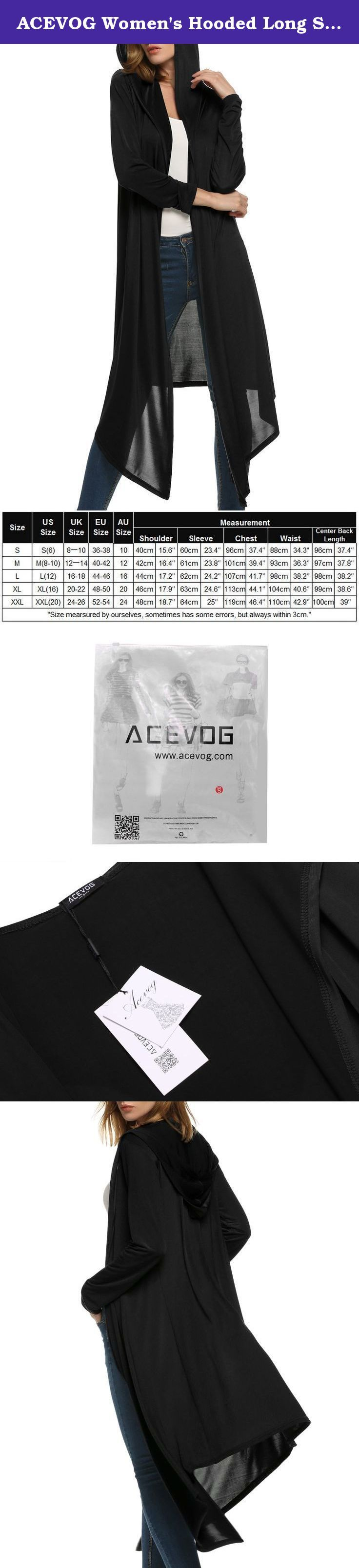 "ACEVOG Women's Hooded Long Sleeve lapel Solid Knee length Long Cape Cardigan Outerwear. Brand: ACEVOG Material: Polyester 5 Colors: Wine Red, Pink, Navy Blue, Gray, Black 5 Sizes available: US S-----Shoulder 40cm/15.6""------Sleeve 60cm/23.4""------Chest 96cm/37.4""-------Waist 88cm/34.3""------Center Back Length 96cm/37.4"" US M-----Shoulder 42cm/16.4""------Sleeve 61cm/23.8""------Chest 101cm/39.4""------Waist 93cm/36.3""------Center Back Length 97cm/37.8"" US L-----Shoulder…"