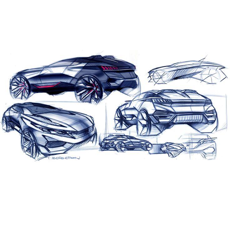 Early sketches of the 500 hp Peugeot Quartz Concept Car.