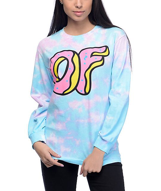 Amp up your style with the OF Donut Logo blue and pink tie dye long sleeve t-shirt from Odd Future that has a large OF logo graphic printed on the front for style and a relaxed cotton construction for comfort.
