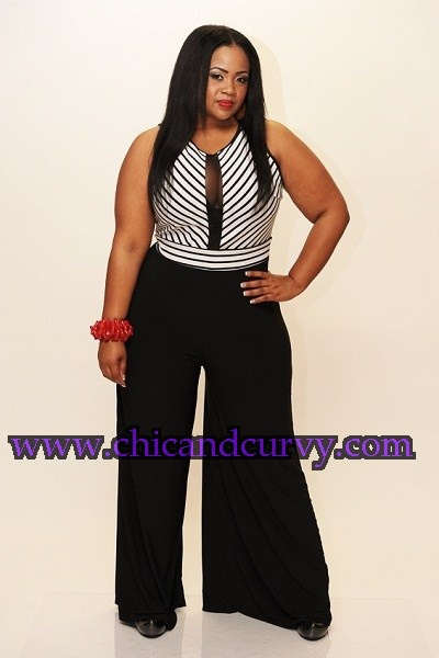 New Plus Size Black and White Stripe Jumpsuit 1X 2X 3X restocked on www.chicandcurvy.com