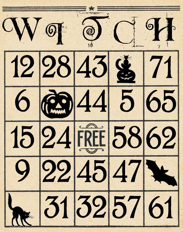 Artistic Hen: Free Halloween Bingo Cards to Download - Part 3