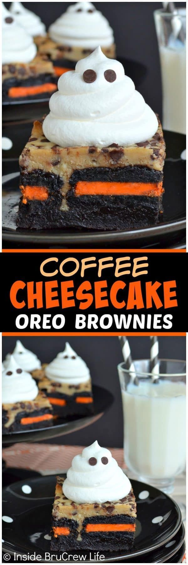 Coffee Cheesecake Oreo Brownies - a Cool Whip ghost and a hidden layer of holiday Oreos adds a fun flair to these cheesecake brownies. Delicious recipe to share at Halloween parties this fall!