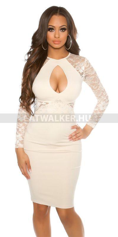 642821e5d5 Alkalmi ruha csipkés, szexi dekoltázzsal - bézs   Alkalmi Ruhák - Catwalker  Női Ruha Webáruház Webshop   Dresses, Fashion és Peplum Dress