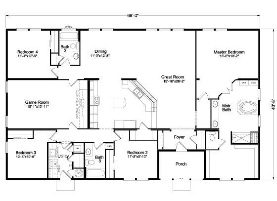 107 best floor plans manufactured images on pinterest for 3 bedroom barndominium floor plans