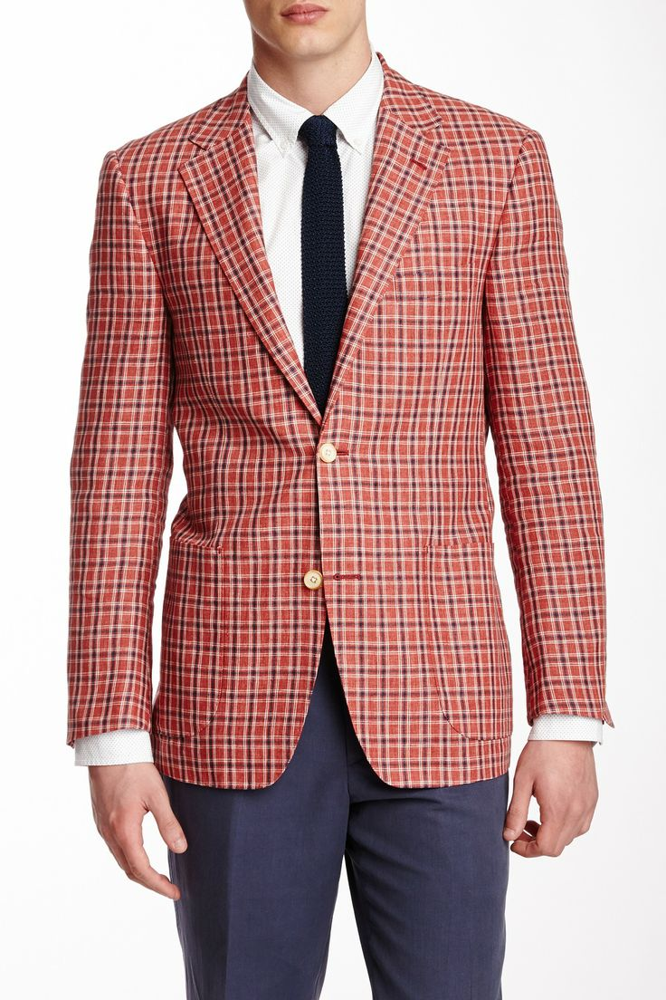 Red Linen Blazer Mens Hardon Clothes