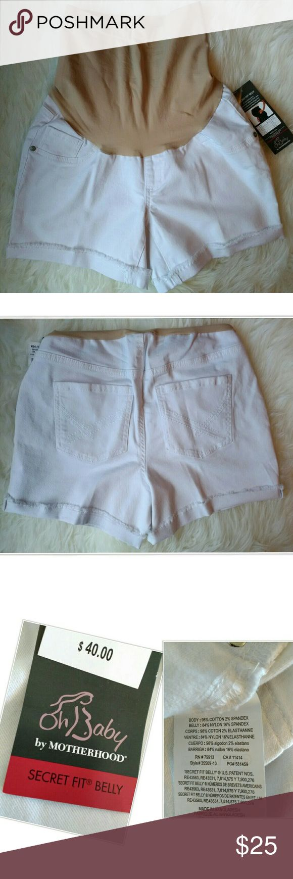 Oh Baby by Motherhood White Denim Cut Off Shorts Oh Baby By Motherhood White Denim Cut Off Shorts Brand New With Tags Retails For $40. Pictures Are Our Stock Photos For This Style & Color, Multiple Sizes Available In Listing. Belly Bands May Have Indent From Hangers But Have Been Inspected And Are Not Damaged. Front Pockets Are Sewn Faux Pockets. Purchase Pre-Pregnancy Size. Reasonable Offers Considered,  No Trades. Oh Baby by Motherhood Shorts Jean Shorts