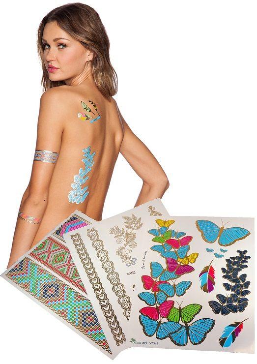 3 ív arcra és testre is alkalmas fémhatású tetoválás. A készletben található különböző színű és mintájú sablonokkal kézügyesség nélkül is könnyedén készíthetsz alkalmi, exkluzív, különleges, ékszer jellegű tetoválást bármilyen alkalomra. Tökéletes testfestés helyett, díszítésnek, kiemeléshez, de akár nyaralásra is alkalmi sminkként, vagy testdíszítésként is fürdőruhához.