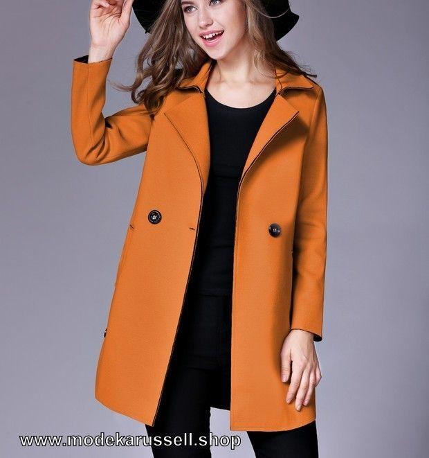 Damen Woll-Mantel Kurz in Orange